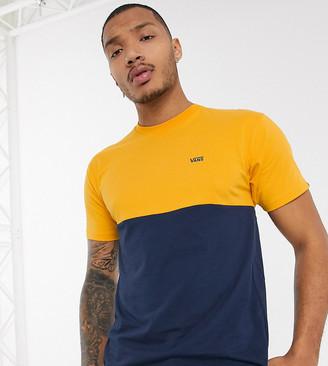 Vans color block t-shirt in navy/yellow Exclusive at ASOS