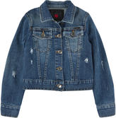 Richmond Jr Stone-washed blue jean jacket with rocaille pearls