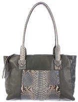 Carlos Falchi Python-Trimmed Leather Tote