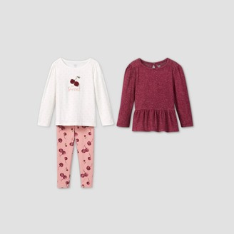 Just One You Made By Carter's Toddler Girls' 3pc Cherry Long Sleeve Top and Leggings Set - Just One You® made by carter's Maroon