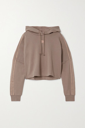 adidas Cropped Metallic-striped French Cotton-terry Hoodie - Brown