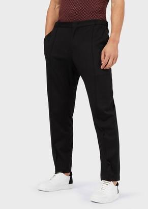 Giorgio Armani Plain-Coloured Jersey Trousers With Raised Crease Line