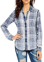 Chelsea & Violet Long Sleeve Button Front Washed Plaid Shirt