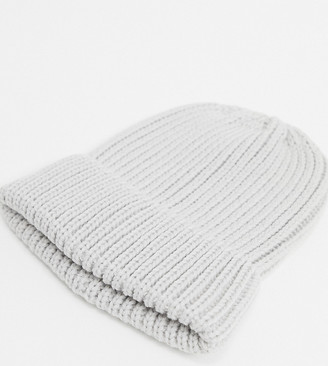 My Accessories London Exclusive recycled ribbed beanie hat in grey