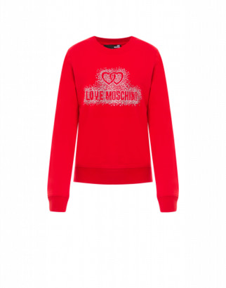 Love Moschino Sweatshirt Crystal Logo Woman Red Size 38 It - (4 Us)