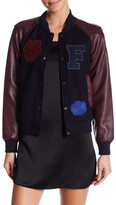 French Connection Faux Leather Varsity Bomber Jacket