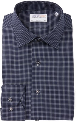 Lorenzo Uomo Windowpane Long Sleeve Trim Fit Shirt