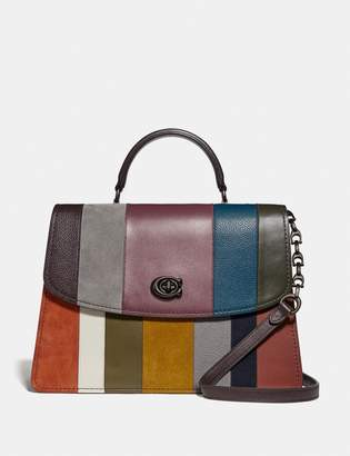 Coach Parker Top Handle 32 With Patchwork Stripes
