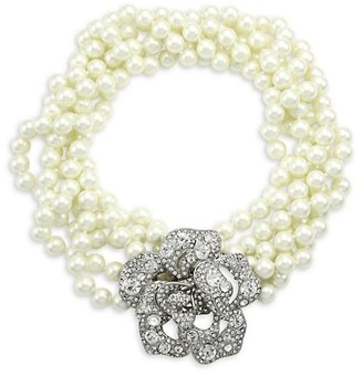 Kenneth Jay Lane Glass Pearl & Crystal Flower Multi-Strand Necklace