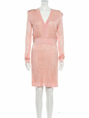 Balmain Lace Pattern Mini Dress Pink