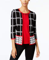 Alfred Dunner Talk of The Town Petite Layered-Look Houndstooth Sweater