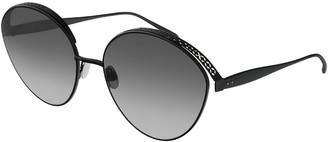 Alaia Perforated Metal Round Sunglasses