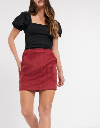 Vero Moda faux suede skirt in red