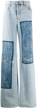 DSQUARED2 Denim Patches Wide Leg Jeans