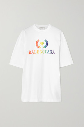 Balenciaga Laurier Oversized Embroidered Cotton-jersey T-shirt - White