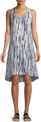 Theory Adlerdale Broken-Stripe Silk Twill Dress