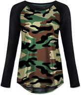 Udear UDEAR Women's Tee Shirts Print - Black & Green Camouflage Raglan Tee - Women & Plus