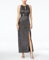 R & M Richards Metallic Knit Halter Gown