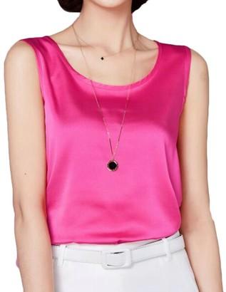 MU2M Women Summer Sleeveless Slim Fit Silk Solid Color Tank Top Cami Blouse Shirt Green US 2XL