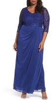 Alex Evenings Plus Size Women's Sequin Lace Bodice Gown