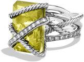 David Yurman Cable Wrap Ring with Lemon Citrine and Diamonds