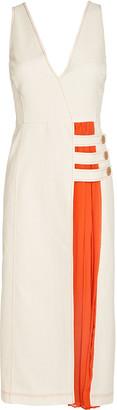 Alexis Ilan Pleated Contrast Midi Dress