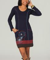 Aller Simplement Navy & Red Embroidered Pocket Scoop Neck Dress
