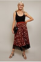 Thumbnail for your product : Little Mistress Francesca Rust Print Pleated Midi Skirt With Lace Trim