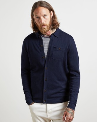 Ted Baker Cotton And Silk Knitted Shirt Cardigan