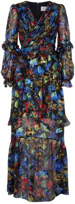 Peter Pilotto Iridescent Floral Print Midi Dress