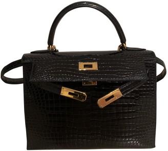 Hermes Kelly 28 Blue Crocodile Handbags
