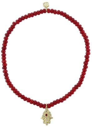 Sydney Evan 14kt yellow gold, diamond and ruby Hamsa charm bracelet
