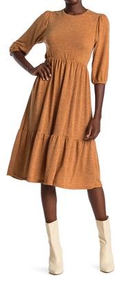 Velvet Torch Heathered 3/4 Sleeve Tiered Sweater Dress