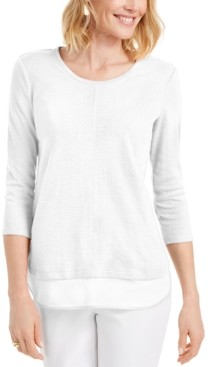 JM Collection Textured Center-Hem Top, Created for Macy's