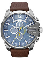 Diesel Men's Leather Strap Stainless Steel Chronograph Watch