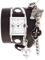 La Mer Riviera Silvertone Chain and Charms Black Leather Wrap-Design Watch
