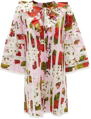Dolce & Gabbana Geranium-print Openwork Cotton Cover Up - Red Print