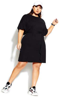 City Chic Urban Frill Dress - black