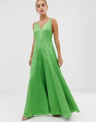 Asos Edition EDITION plunge cami wide leg jumpsuit in satin-Green
