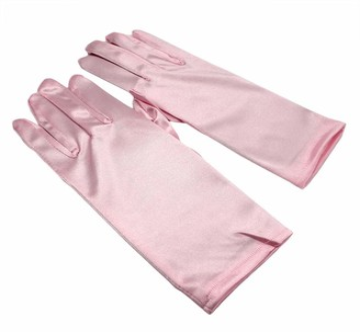 Zeetaq Women's Short Satin Gloves Wrist Length Gloves Ladies Gown Gloves Opera Wedding Banquet Dress Glove for Party Dance (White)