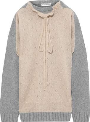 J.W.Anderson Ruffle-trimmed Merino Wool-blend Boucle Sweater