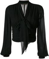 Plein Sud Jeans bishop sleeves cropped blouse