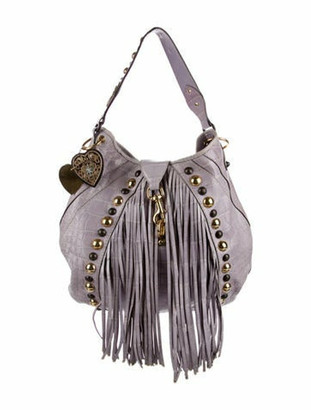 Gucci Crocodile Large Babouska Studded Hobo Violet