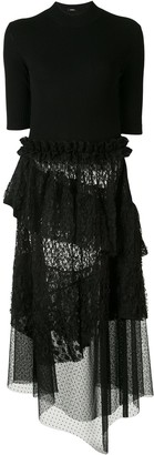GOEN.J Ruffled-Lace Asymmetric Dress