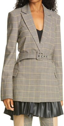 Jonathan Simkhai Logan Windowpane Plaid Belted Blazer with Removable Faux Leather Trim