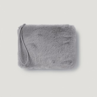 The White Company Faux-Fur Clutch Bag, Grey, One Size