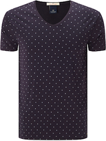 Scotch & Soda Classic V Neck T-shirt, Navy/purple