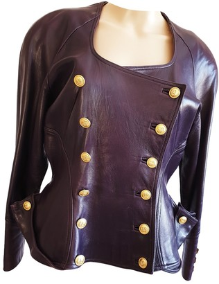 Jitrois Purple Leather Jacket for Women Vintage