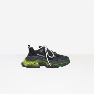 Balenciaga Triple S Clear Sole Sneaker in black and neon yellow double foam and mesh