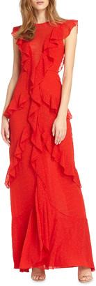 ML Monique Lhuillier Draped Ruffle Gown w/ Cap Sleeves
